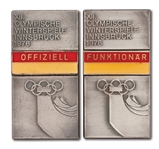 1976 INNSBRUCK WINTER OLYMPIC GAMES OFFICIAL AND HIGH OFFICIAL BADGES