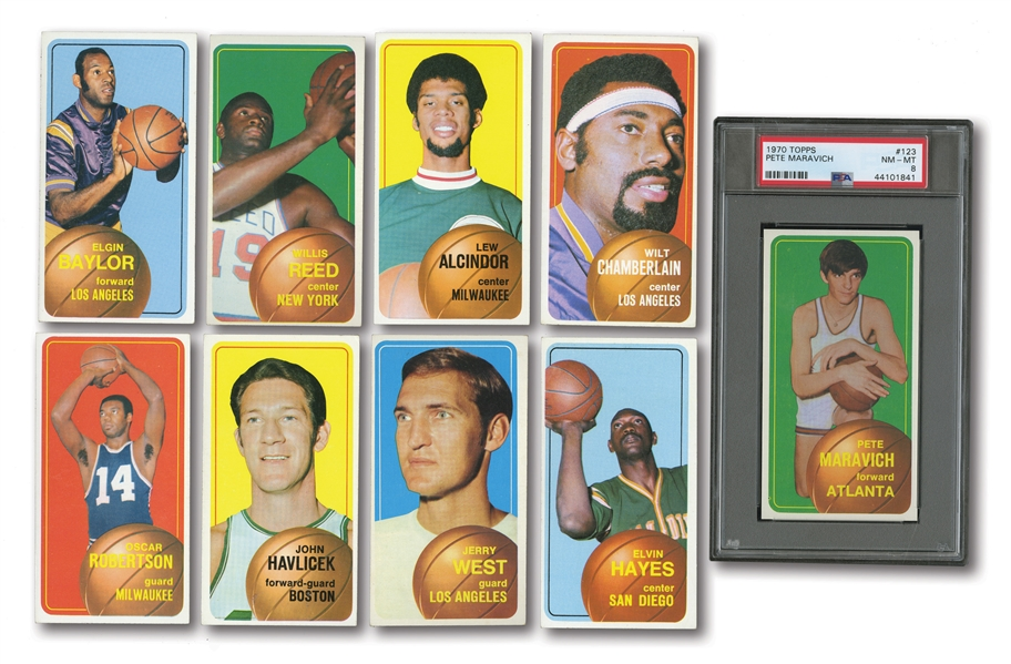 1970-71 TOPPS BASKETBALL COMPLETE SET INCL. #123 MARAVICH RC (PSA NM-MT 8) PLUS 1976-77 TOPPS COMPLETE SET