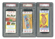 1966-76 ROSE BOWL GROUP OF (6) PSA GRADED FULL TICKETS WITH THREE PSA NM-MT 8 EXAMPLES