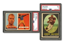 1957 TOPPS FOOTBALL #151 PAUL HORNUNG PSA EX 5 AND 1958 TOPPS #62 JIM BROWN PSA EX 5 ROOKIES