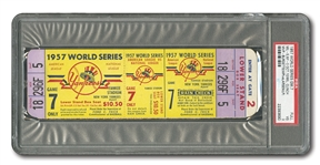1957 WORLD SERIES (BRAVES AT YANKEES) GAME 7 FULL TICKET - PSA VG 3