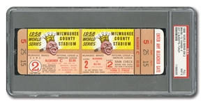 1958 WORLD SERIES (YANKEES AT BRAVES) GAME 2 FULL TICKET (MANTLES 10TH & 11TH W.S HRS) - PSA MINT 9