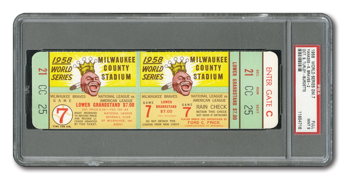 1958 WORLD SERIES (YANKEES AT BRAVES) GAME 7 FULL TICKET - PSA MINT 9