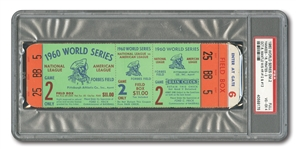 1960 WORLD SERIES (PIRATES VS. YANKEES) GAME 2 FULL TICKET (MANTLES 12TH & 13TH W.S. HRS) - PSA VG-EX 4