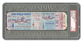 1960 WORLD SERIES (PIRATES AT YANKEES) GAME 4 FULL TICKET - PSA VG-EX 4