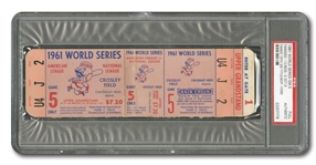 1961 WORLD SERIES (YANKEES VS. REDS) GAME 5 FULL TICKET - PSA AUTHENTIC
