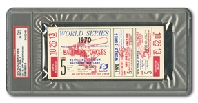 1970 WORLD SERIES (ORIOLES VS. REDS) GAME 5 FULL TICKET (OS CLINCH 2ND W.S. TITLE) - PSA EX-MT 6