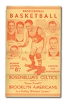 "FEB. 8, 1932 ""ROSENBLUMS CELTICS VS. HONEY RUSSELLS BROOKLYN AMERICANS"" PROFESSIONAL BASKETBALL HANDBILL/POSTER (RARE)"