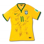 2014 BRAZIL NATIONAL TEAM SIGNED OSCAR FIFA WORLD CUP MATCH WORN #11 JERSEY (LOA FROM BRAZIL KITMANS SON)