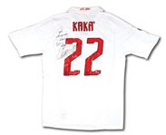 2007-08 KAKA SIGNED & INSCRIBED AC MILAN UEFA CHAMPIONS LEAGUE MATCH WORN #22 JERSEY (BRAZIL TECHNICAL COORDINATOR LOA)