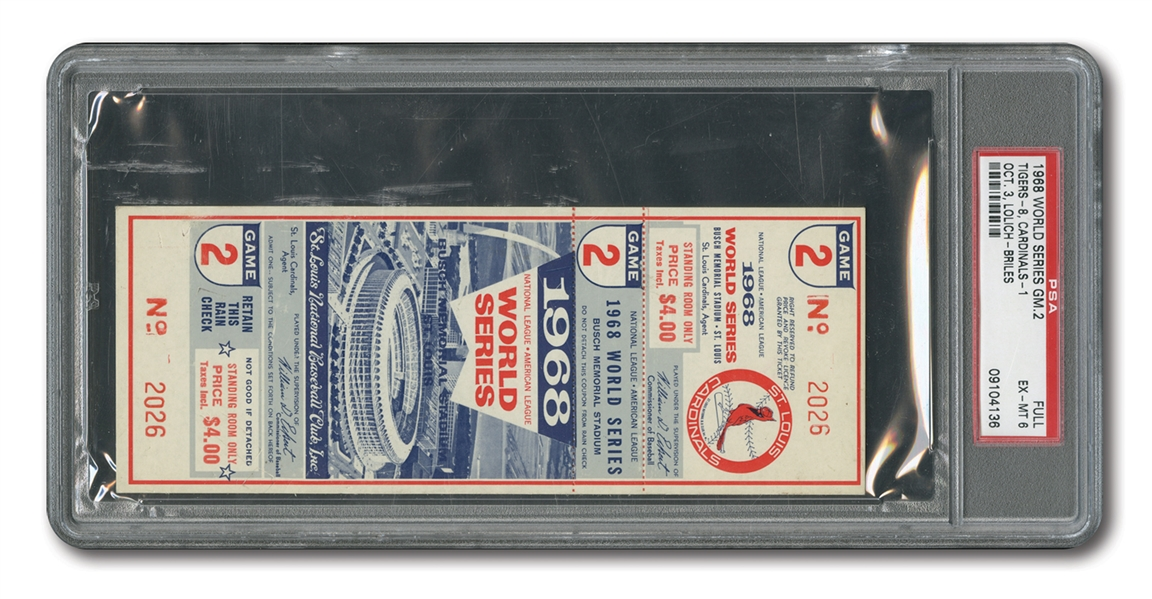 1968 WORLD SERIES (TIGERS AT CARDINALS) GAME 2 FULL TICKET - PSA EX-MT 6