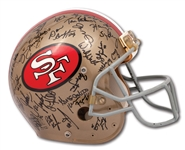 1989-90 JERRY RICE SAN FRANCISCO 49ERS GAME WORN AND TEAM-SIGNED HELMET FROM SUPER BOWL XXIV WINNING SEASON (RICE LOA, TEAMMATE PROVENANCE)