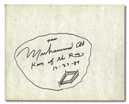 "MUHAMMAD ALI SIGNED & DATED 8.75"" BY 11"" CARDBOARD STOCK INSCRIBED ""KING OF THE RING"" WITH ORIGINAL ALI SKETCH"
