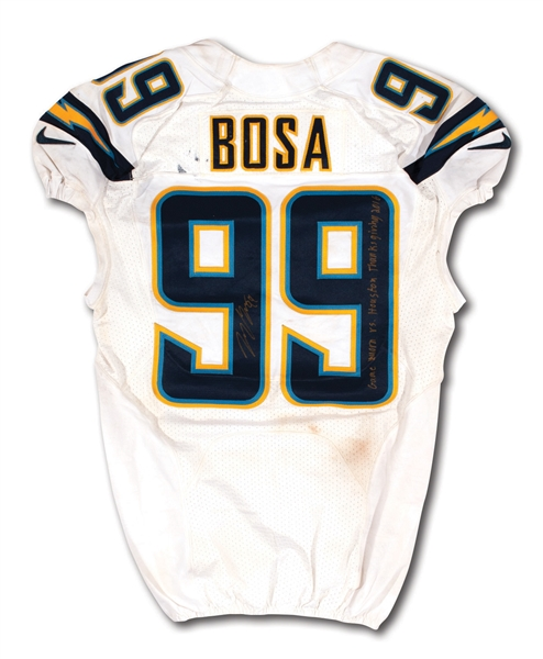 11/27/2016 JOEY BOSA SIGNED & INSCRIBED SAN DIEGO CHARGERS (ROOKIE SEASON) GAME WORN JERSEY @ HOU - POUNDED & PHOTO-MATCHED (CHARGERS COA, FANATICS AUTH.)
