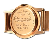 "RED HOLZMANS 1950 ""BASKETBALL FRATERNITY OF NEW YORK"" LONGINES 14K GOLD WRISTWATCH (HOLZMAN COLLECTION)"