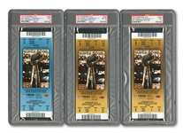 LOT OF (6) 2010 SUPER BOWL XLIV (SAINTS 31 - COLTS 17) FULL UNUSED TICKETS IN GOLD, RED & BLUE VARIATIONS - ALL PSA MINT 9 EXCEPT ONE