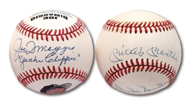 "MICKEY MANTLE & DUKE SNIDER DUAL-SIGNED OAL BASEBALL PLUS JOE DiMAGGIO SINGLE SIGNED BALL INSCRIBED ""YANKEE CLIPPER"""