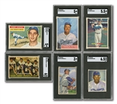 DODGERS CARD LOT OF (6) 1950-57 TOPPS & BOWMAN SGC GRADED CARDS INCL. KOUFAX, CAMPANELLA, SNIDER & NEWCOMBE (RC)