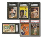 LOT OF (6) 1954-62 TOPPS SGC & PSA GRADED CARDS INCL. MAYS, T. WILLIAMS, KOUFAX, SNIDER, MARIS & YAZ