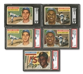 1956 TOPPS LOT OF (5) INCL. #33 CLEMENTE, #30 J.ROBINSON (2), #79 KOUFAX (2) - ALL PSA OR SGC GRADED
