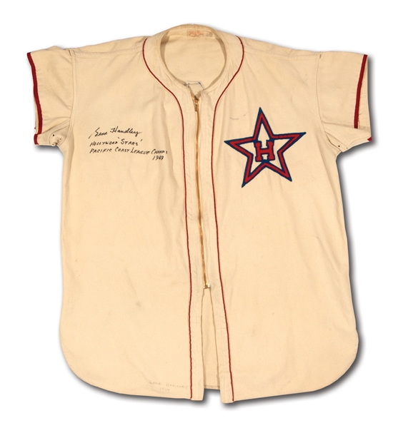 1949 GENE HANDLEY SIGNED & INSCRIBED HOLLYWOOD STARS (PCL CHAMPIONS) GAME WORN #4 HOME JERSEY (EX-DOBBINS COLLECTION)