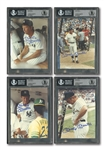 MICKEY MANTLE LOT OF (4) AUTOGRAPHED 5x7 OLD TIMERS DAY PHOTOS - BECKETT MINT 9 (1) AND GEM MINT 10 (3)