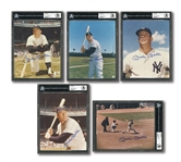 MICKEY MANTLE LOT OF (5) PERFECTLY AUTOGRAPHED 8x10 COLOR PHOTOS FROM HIS PLAYING DAYS - ALL BECKETT GEM MINT 10