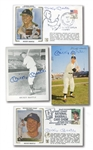 MICKEY MANTLE SIGNED LOT OF (4) INCL. 1953 DORMAND POSTCARD, (2) FDC CACHETS, AND 4x5 PLAYER-PACK PHOTO