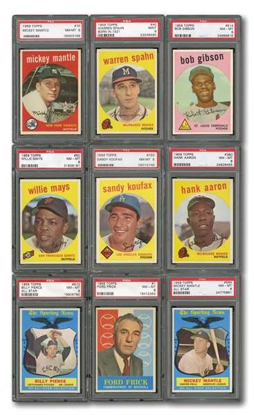 1959 TOPPS BASEBALL COMPLETE SET RANKED #15 ON PSA REGISTRY WITH 8.06 SET RATING