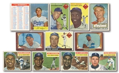 DODGERS CARD LOT OF (18) 1952-59 TOPPS & BOWMAN INCL. JACKIE ROBINSON, SNIDER, CAMPANELLA, KOUFAX, DRYSDALE, HODGES, ETC.