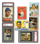 YOGI BERRA LOT OF (7) DIFFERENT 1950-61 BOWMAN & TOPPS CARDS WITH THREE PSA GRADED