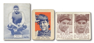 1934 BATTER-UP #30 BILL DICKEY, 1941 DOUBLE PLAY #63-64 JOE DiMAGGIO/CHARLIE KELLER, AND 1952 WHEATIES YOGI BERRA
