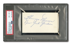 "THURMAN MUNSON EARLY CAREER SIGNED CUT INDEX CARD INSCRIBED ""NEW YORK YANKEES"" (PSA/DNA NM-MT 8 AUTO.)"