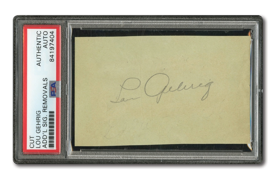 LOU GEHRIG CUT SIGNATURE (ROOKIE ERA) WITH SHARP PENCIL AUTOGRAPH - PSA/DNA AUTHENTIC
