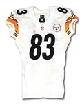 2014 HEATH MILLER PITTSBURGH STEELERS GAME WORN ROAD JERSEY - POUNDED, UNWASHED & EASILY PHOTO-MATCHED (NFL & PSA/DNA CERT.)