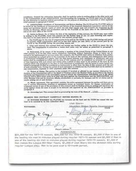1971 RON BOONE SIGNED ABA UNIFORM PLAYERS CONTRACT AND ORIGINAL TYPE I PHOTOGRAPH
