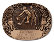 "RON BOONES 1041 CONSECUTIVE GAMES ""THE STREAK"" BELT BUCKLE AWARDED BY UTAH JAZZ (BOONE LOA)"