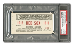 1918 BOSTON RED SOX (WORLD SERIES CHAMPIONS) SEASON GRANDSTAND PASS - RUTHS 3RD TITLE, TEAMS LAST UNTIL 2004