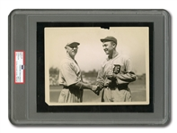 1922 TY COBB ORIGINAL WIRE PHOTOGRAPH CONGRATULATING TILLIE WALKER ON 100TH CAREER HOME RUN (PSA/DNA TYPE I)