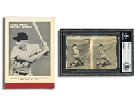 "ROGER MARIS SIGNED 4x6 NEWS CLIP INDEX CARD AND (UNSIGNED) 1961 ""BATTING SECRETS"" FLIP BOOK"