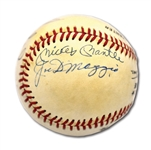 NEW YORK CENTERFIELDERS SIGNED ONL (GIAMATTI) BASEBALL WITH DiMAGGIO, MANTLE, MAYS & SNIDER