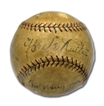 1926-27 BABE RUTH, MILLER HUGGINS AND WAITE HOYT SIGNED OAL (BAN JOHNSON) BASEBALL