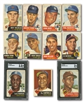 1953 TOPPS LOT OF (23) DIFFERENT INCL. #1 JACKIE ROBINSON AND #220 SATCHELL PAIGE (BOTH SGC GRADED)