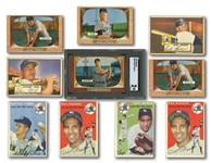 NEW YORK YANKEES LOT OF (17) 1952-55 CARDS INCL. 1955 BOWMAN #202 MANTLE SGC GOOD 2