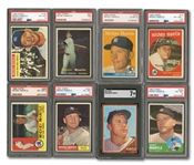 MICKEY MANTLE 1956 THROUGH 1969 TOPPS CONSECUTIVE RUN OF (14) REGULAR ISSUES (NO ALL-STARS) - ALL PSA EX-MT 6 TO NM 7 (ONE SGC)