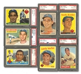 SANDY KOUFAX 1955 THROUGH 1966 COMPLETE RUN OF (13) REGULAR ISSUES (EVERY TOPPS PLUS 63 FLEER) - ALL PSA NM 7 TO MINT 9