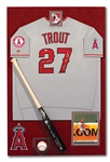"MIKE TROUT AUTOGRAPHED SHADOWBOX DISPLAY WITH FULL NAME (""NELSON"") SIGNED PRO MODEL BAT & TEAM ISSUED ANGELS JERSEY (""2012 AL ROY"") AND ROOKIE YEAR SINGLE SIGNED OML BALL (ALL MLB AUTH.)"