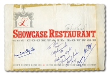 "1967 MUHAMMAD ALI SIGNED & INSCRIBED ""WORLD HEAVY WEIGHT CHAMPION"" N.Y. RESTAURANT PLACEMAT ALSO SIGNED BY HIS PARENTS (PHOTO PROVENANCE)"