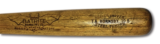 1925-30 ROGERS HORNSBY GAME USED BURKE BATRITE PROFESSIONAL MODEL BAT - .400 SEASON, 2-TIME MVP & W.S. CHAMP ERA! (PSA/DNA GU 7)