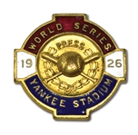 1926 NEW YORK YANKEES (VS. CARDINALS) WORLD SERIES PRESS PIN